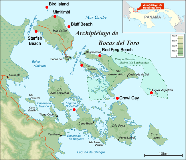 Map of the Islands of the Archipelago of Bocas del Toro in Panama with boat tour stops