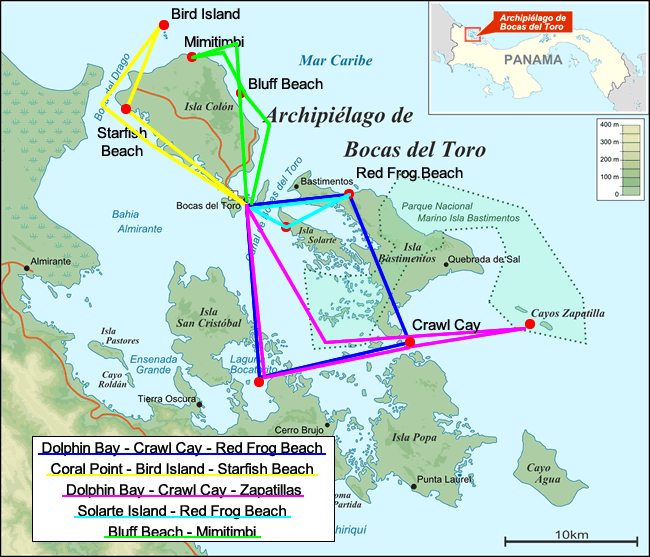 Map of the Islands of the Archipelago of Bocas del Toro in Panama with boat tour itineraries