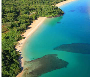 Aerial view of Red Frog Beach in Bastimentos Island, Bocas del Toro, Panama